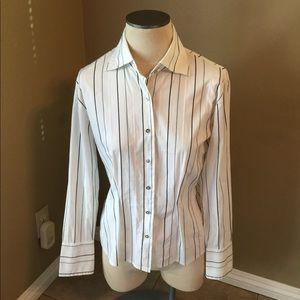 Anne Klein white/black striped stretch dress shirt